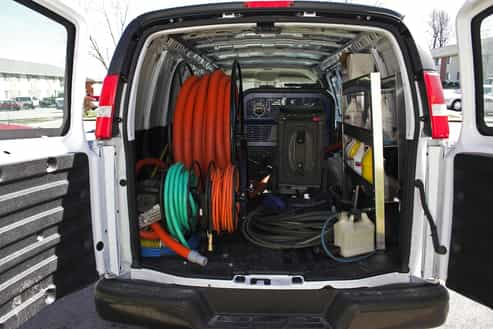 Picture of cleaning van with equipment
